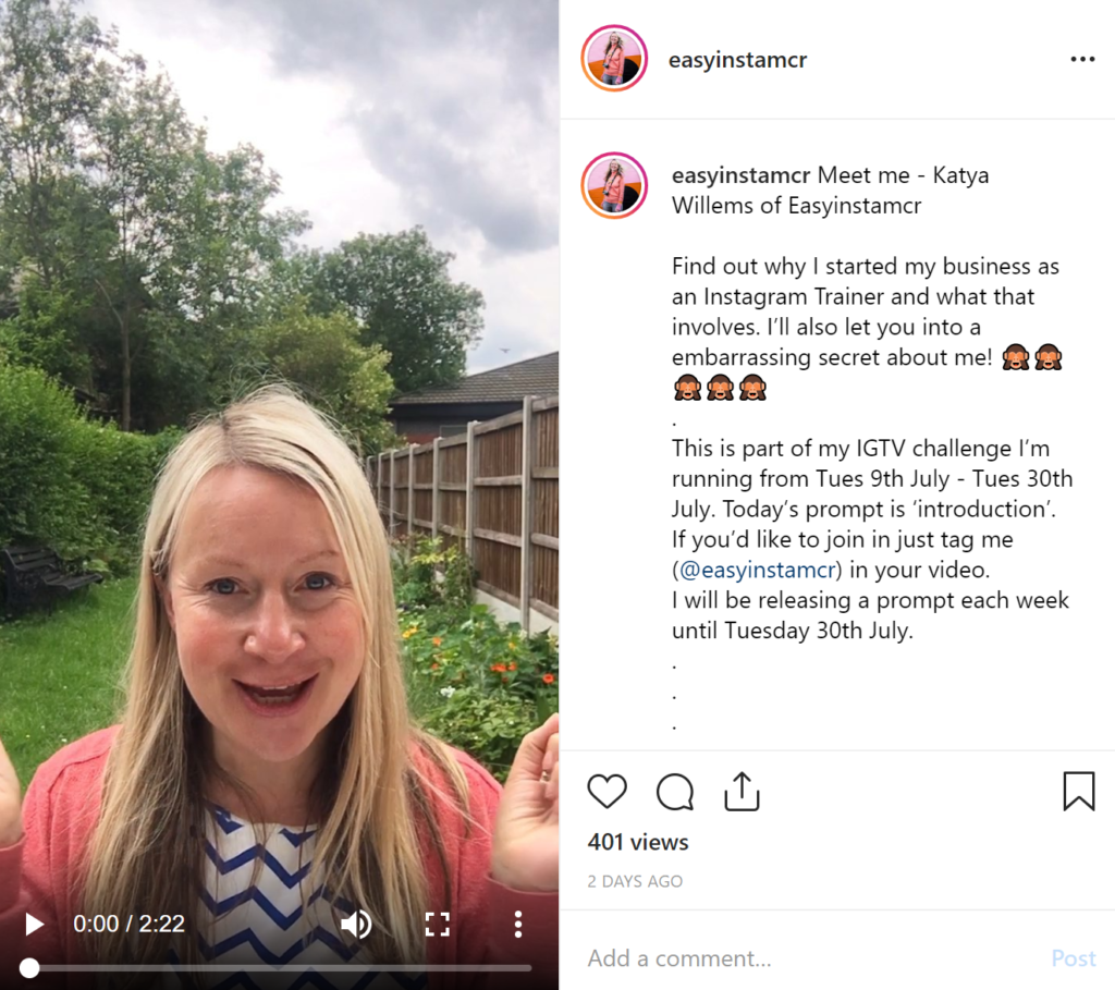 Easyinstamcr recording an IGTV in the garden.