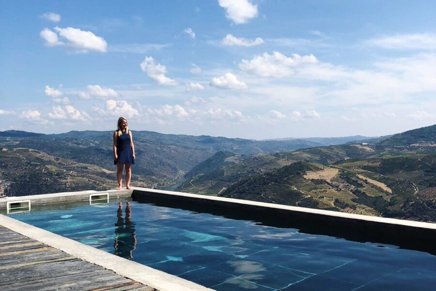 Katya Willems at pool in Douro Valley.