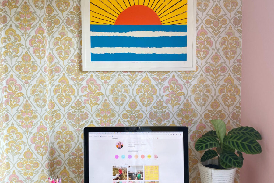 katya willems' yellow and pink office.
