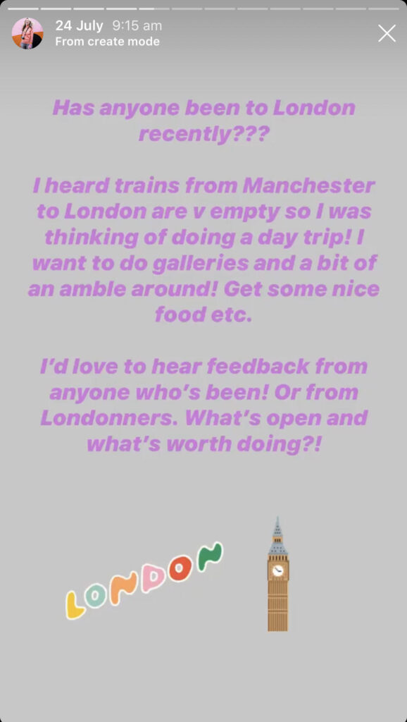 Katya Willems Instagram Stories asking for tips for a trip to London.