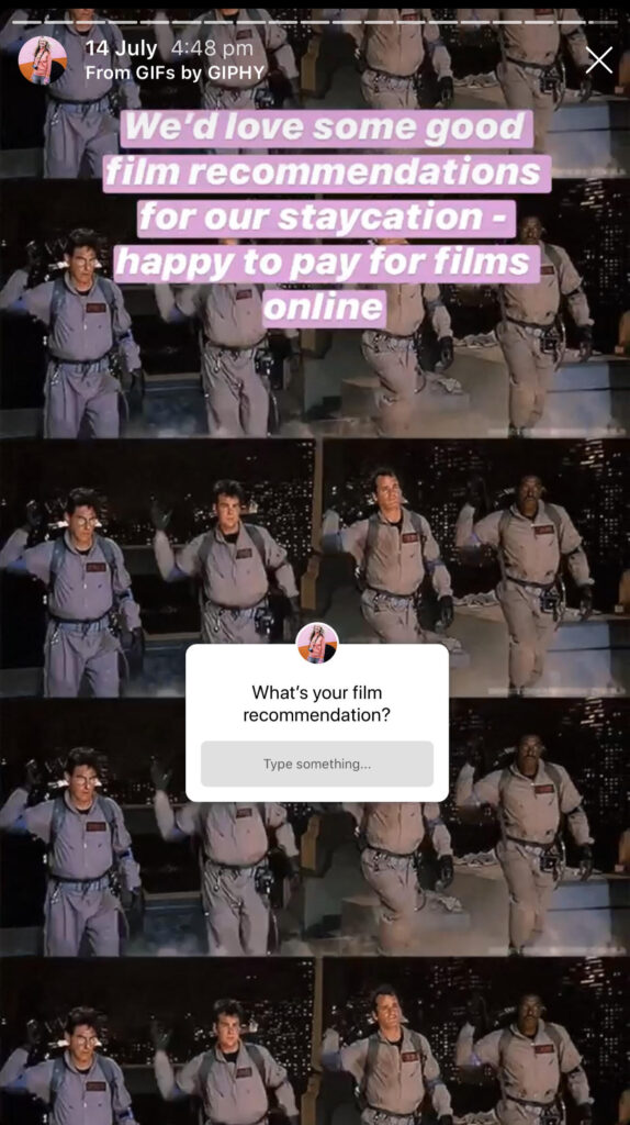 Using the question sticker in Instagram Stories to ask for film recommendations.