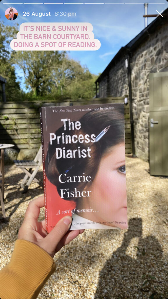 Katya Willems Instagram Stories sharing The Princess Diarist by Carrie Fisher.
