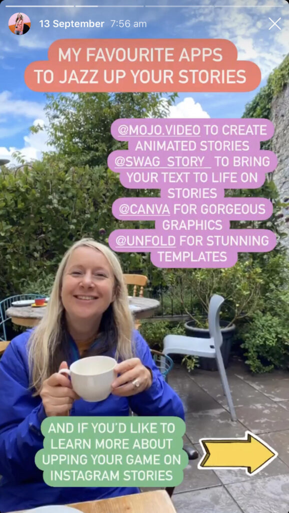 Katya Willems Instagram Stories sharing 4 apps to improve your Stories.