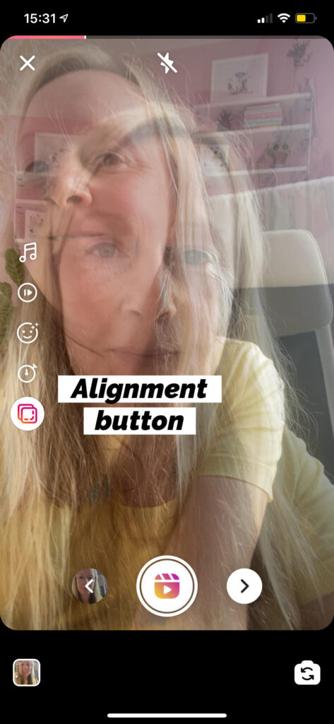 The alignment feature on Instagram Reels.